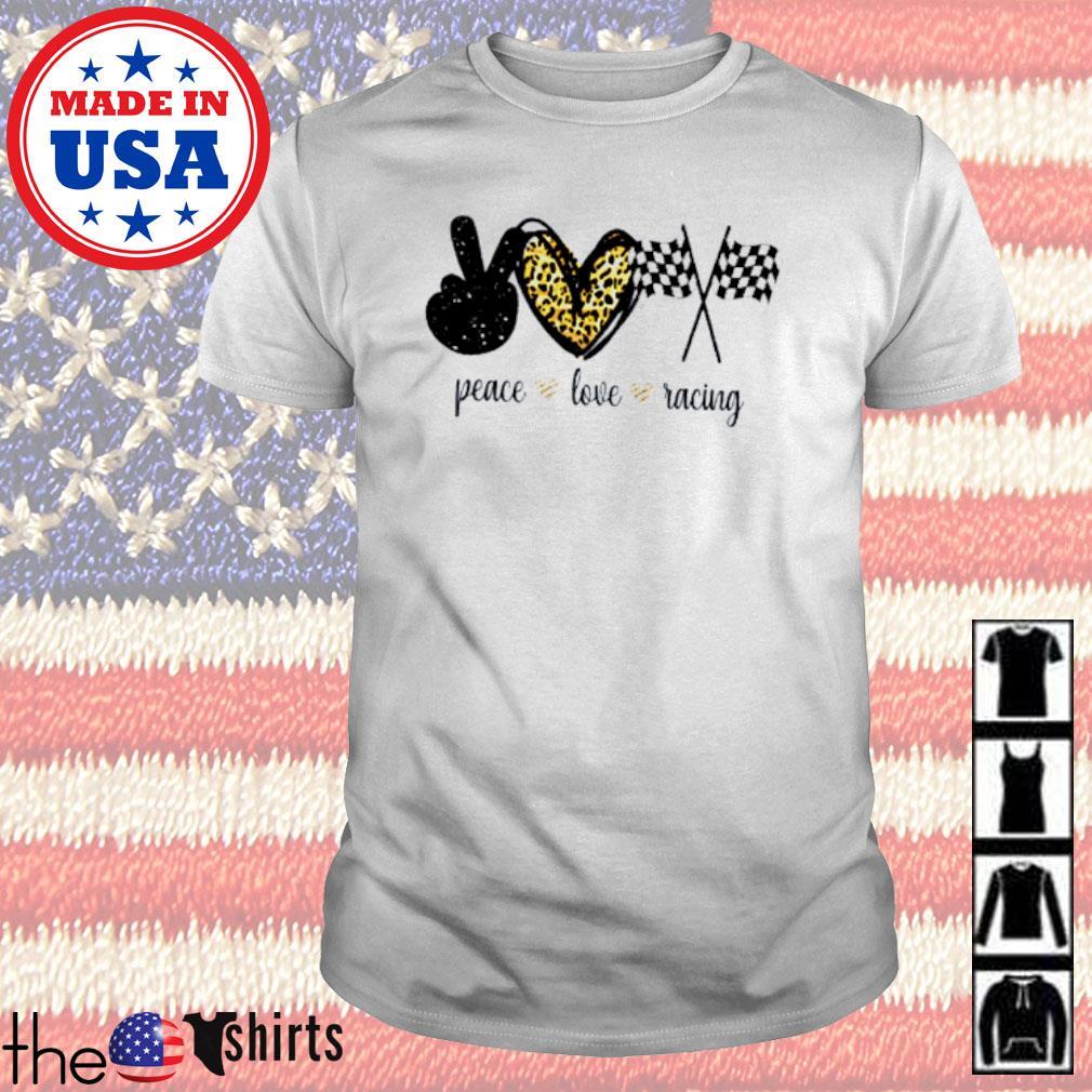 Peace love racing flag shirt