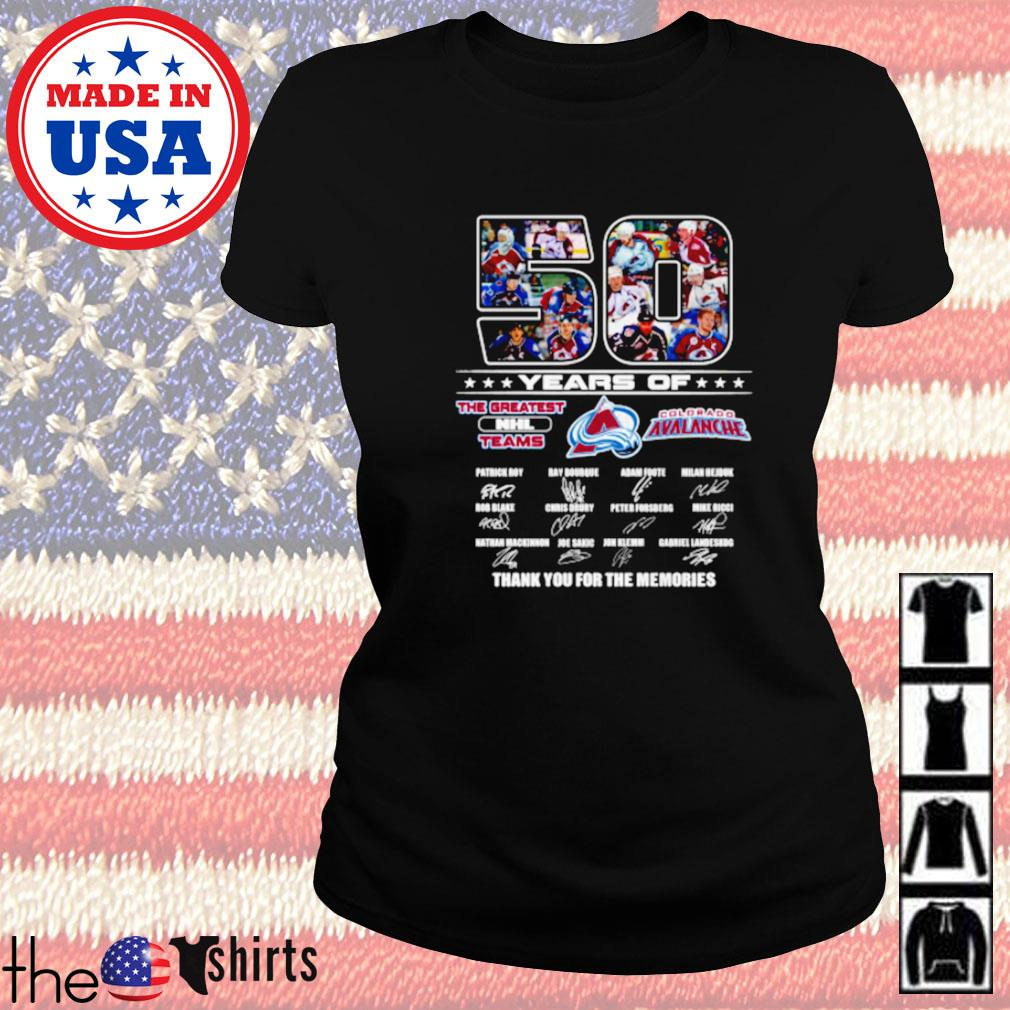50 Years of Colorado Avalanche the greatest NHL teams signature Ladies tee