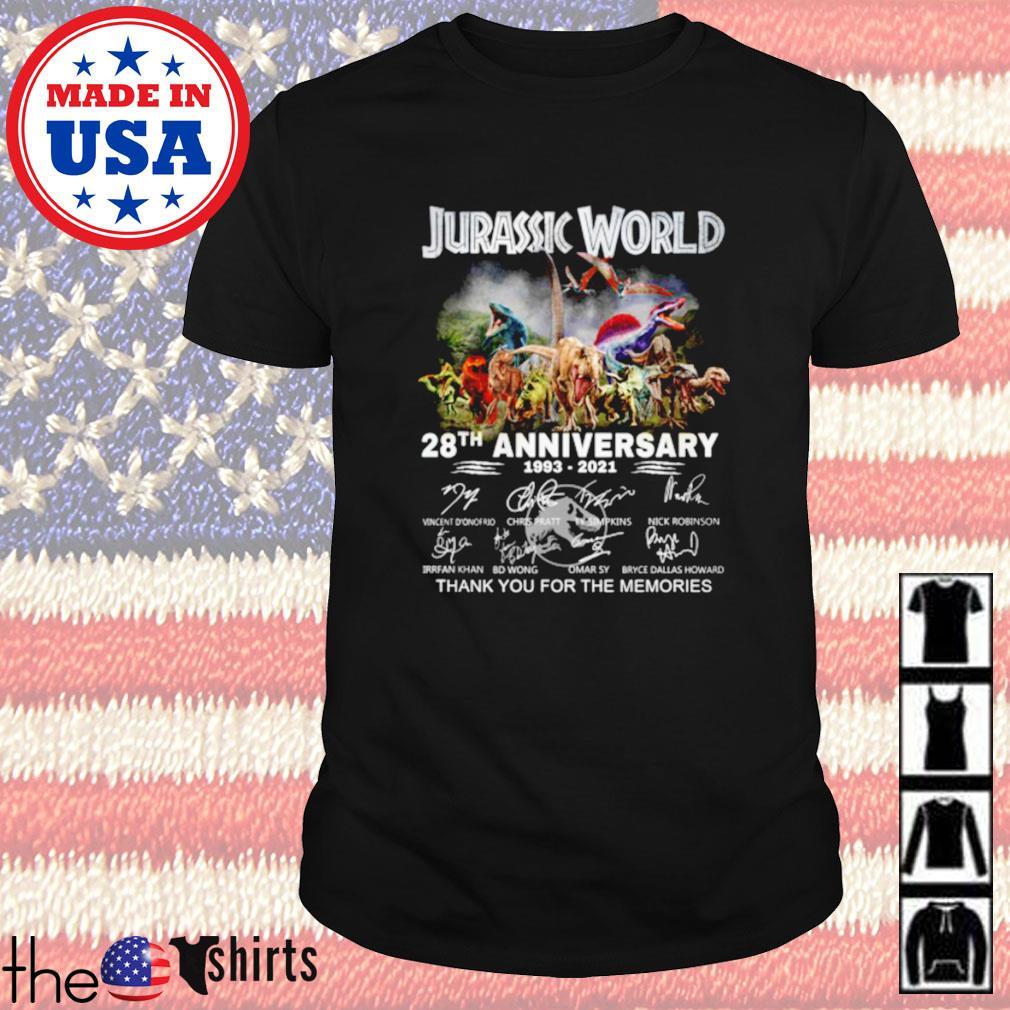 Jurassic world 28th anniversary 1993-2021 signature shirt