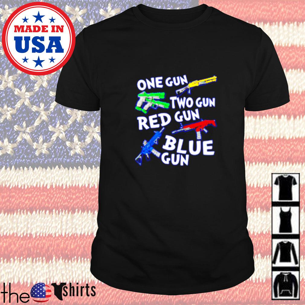 One gun two gun red gun blue gun shirt