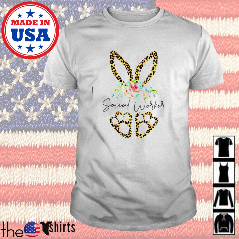 Social worker rabbit leopard floral shirt