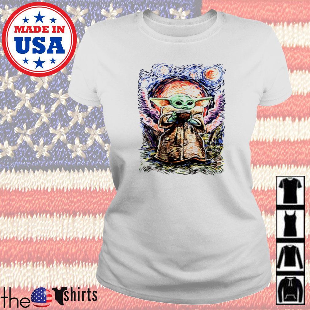 Baby Yoda Vagh Gogh Starry Night Ladies tee
