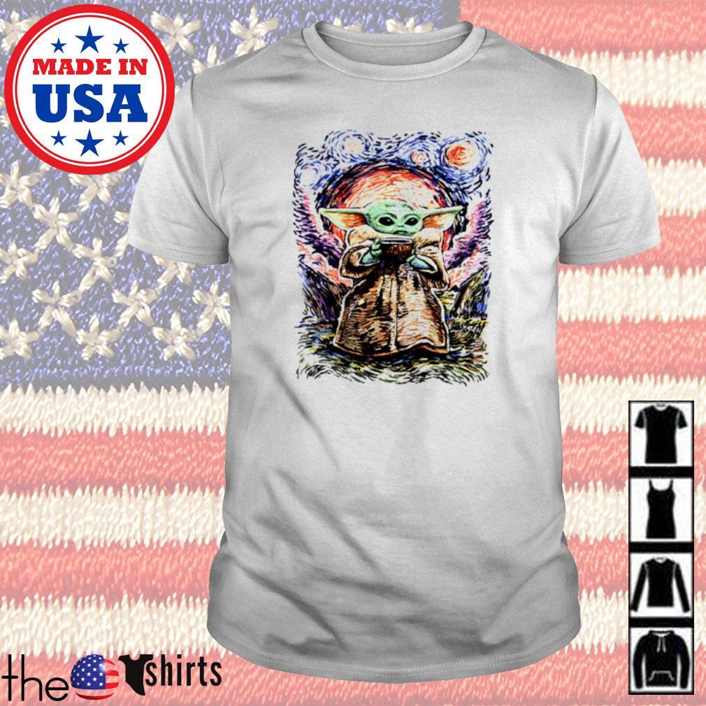 Baby Yoda Vagh Gogh Starry Night shirt