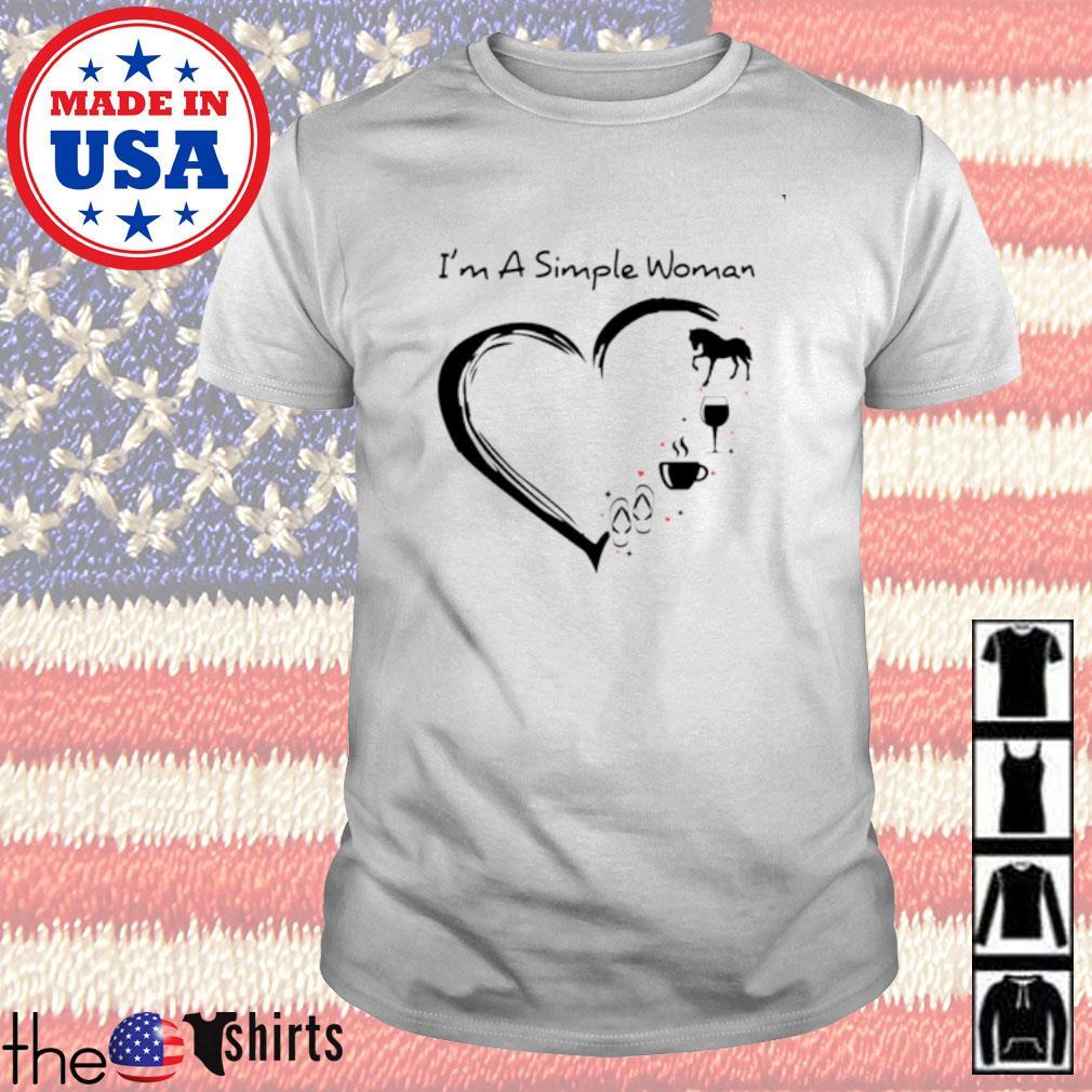 I'm a simple woman I love horse wine coffee flip flop shirt