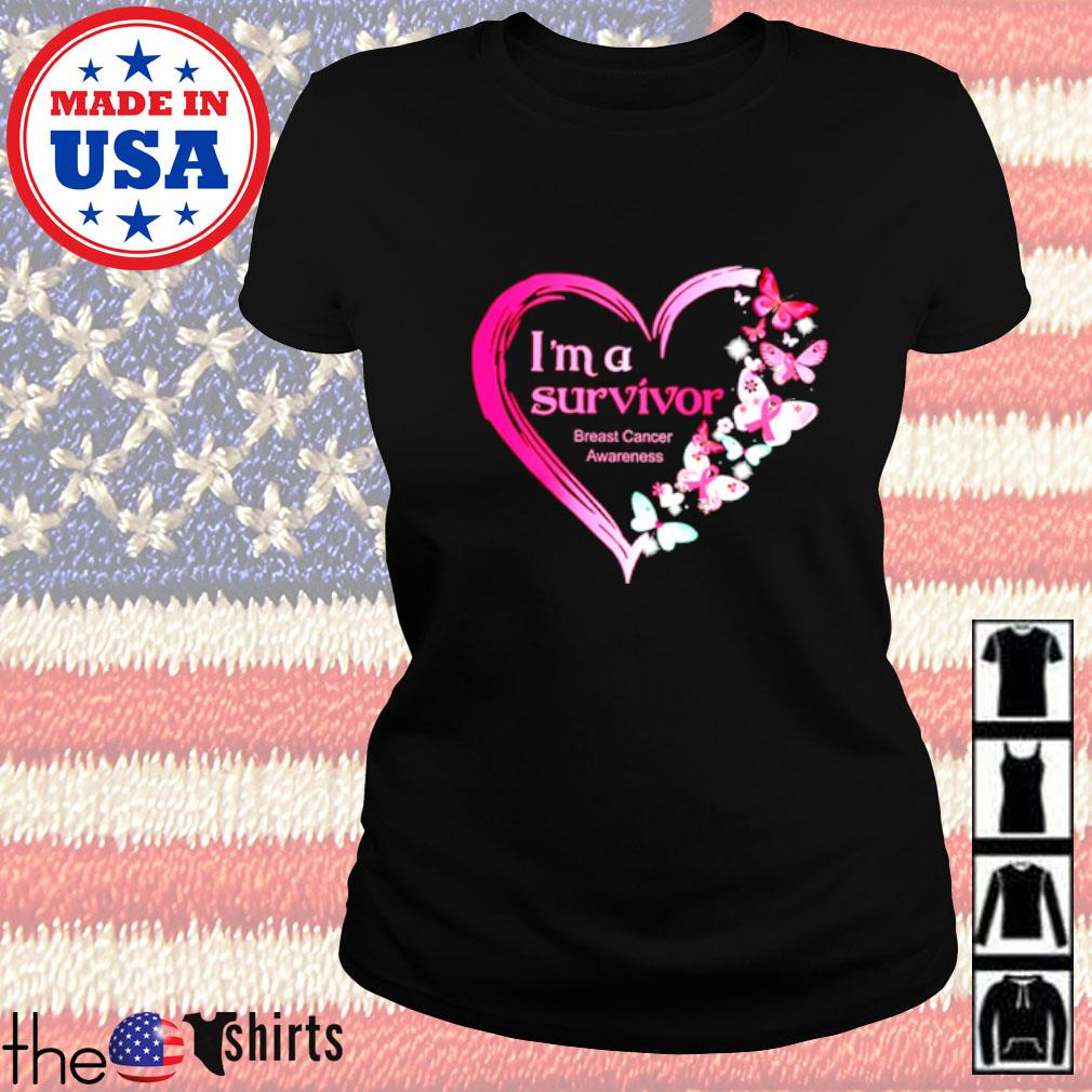 I'm a survivor breast cancer awareness butterfly heart Ladies tee