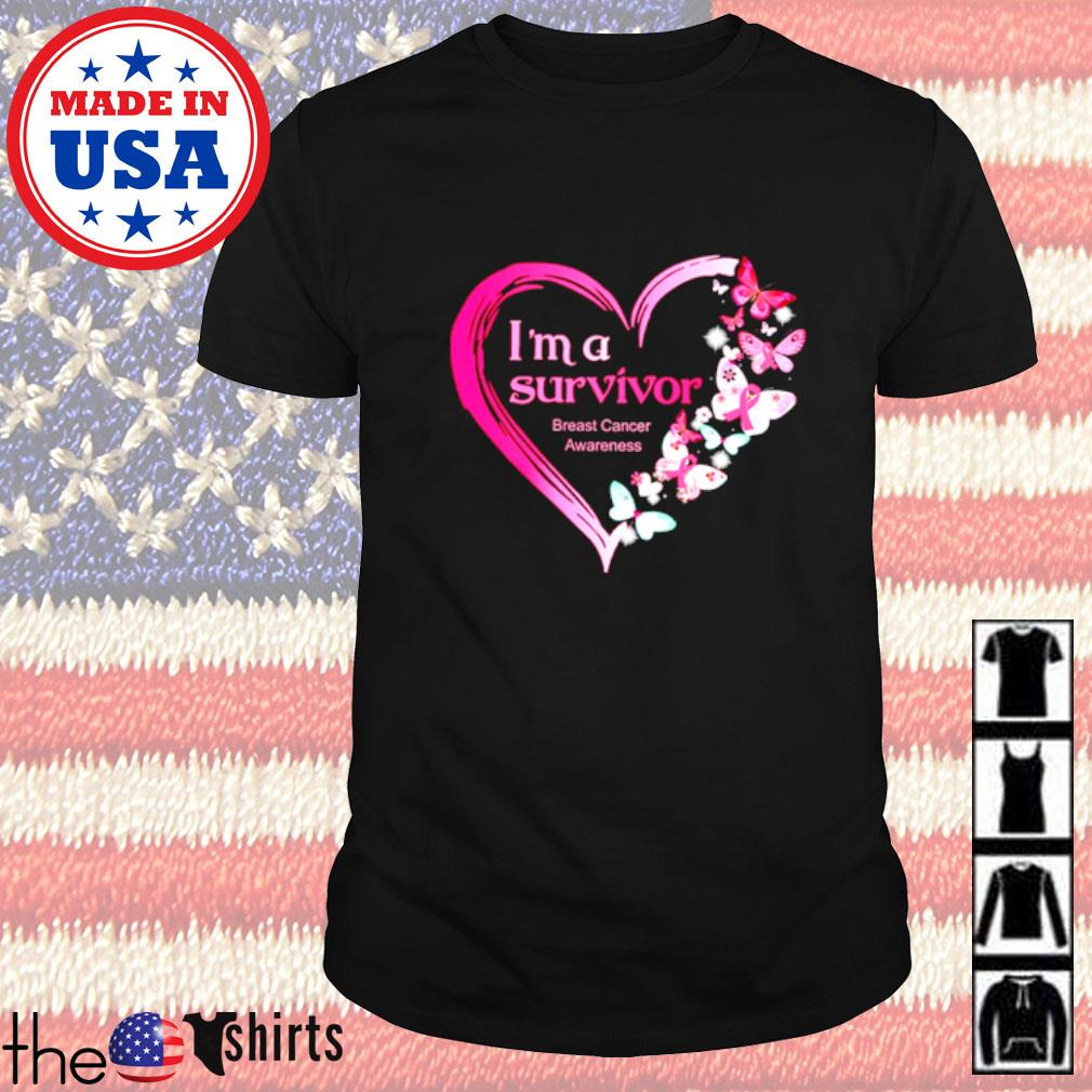 I'm a survivor breast cancer awareness butterfly heart shirt