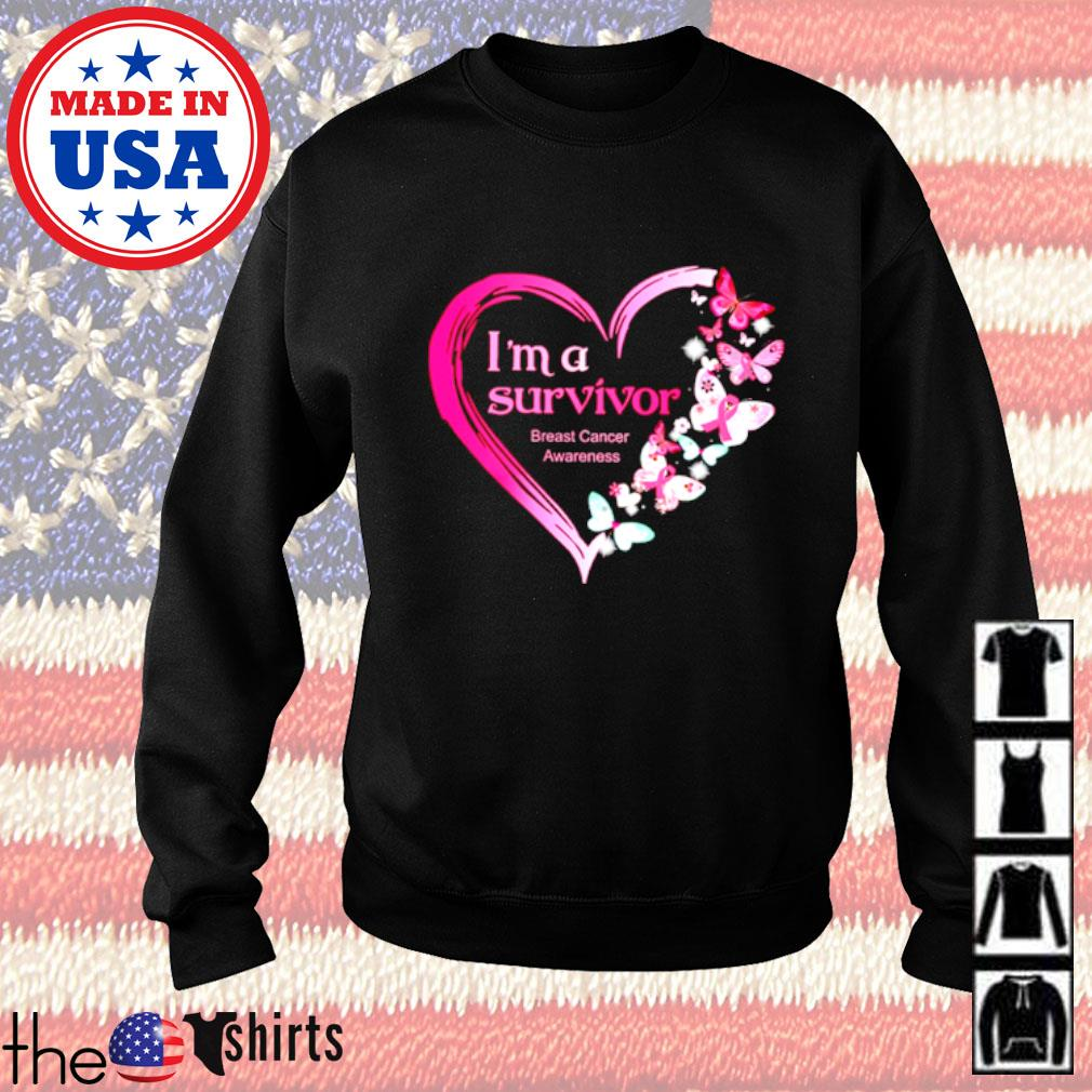 I'm a survivor breast cancer awareness butterfly heart Sweater