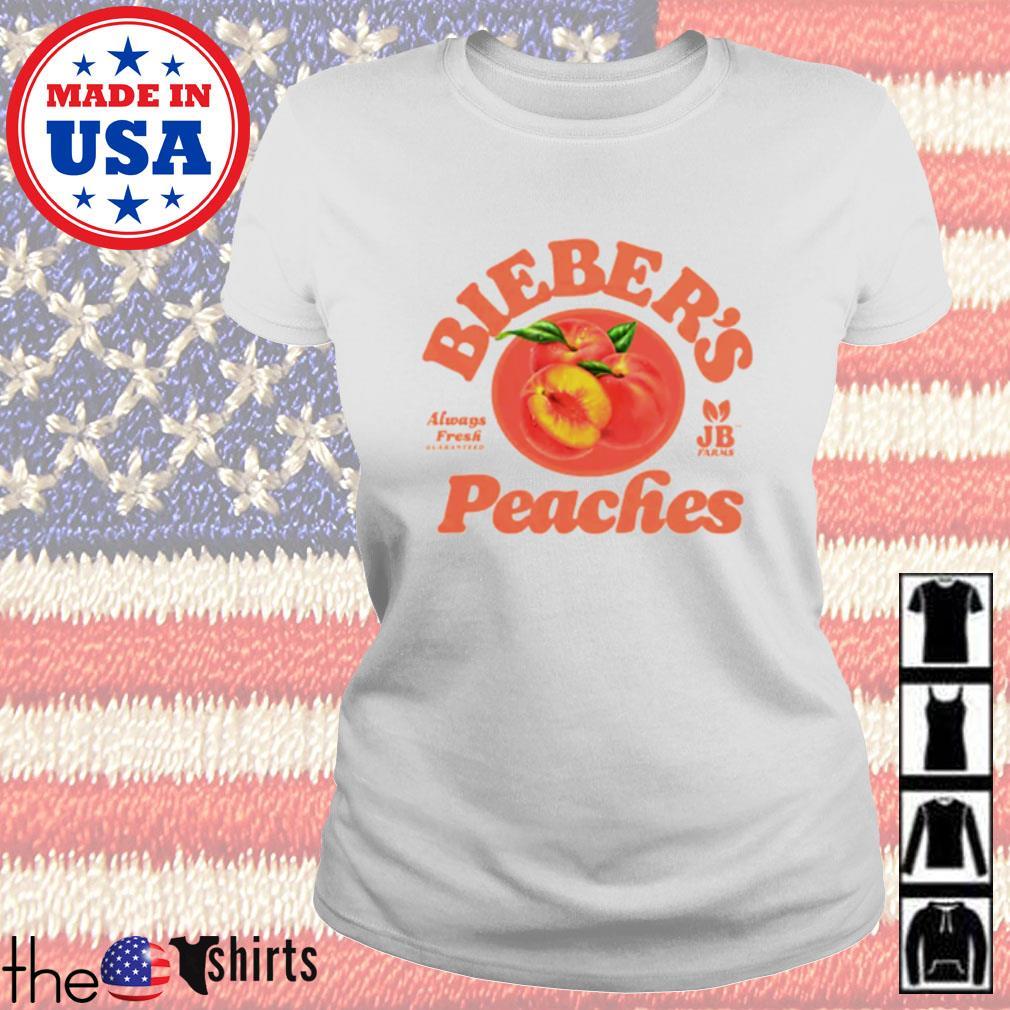 Bieber's Peaches always Fresh quaranteed farms Ladies tee