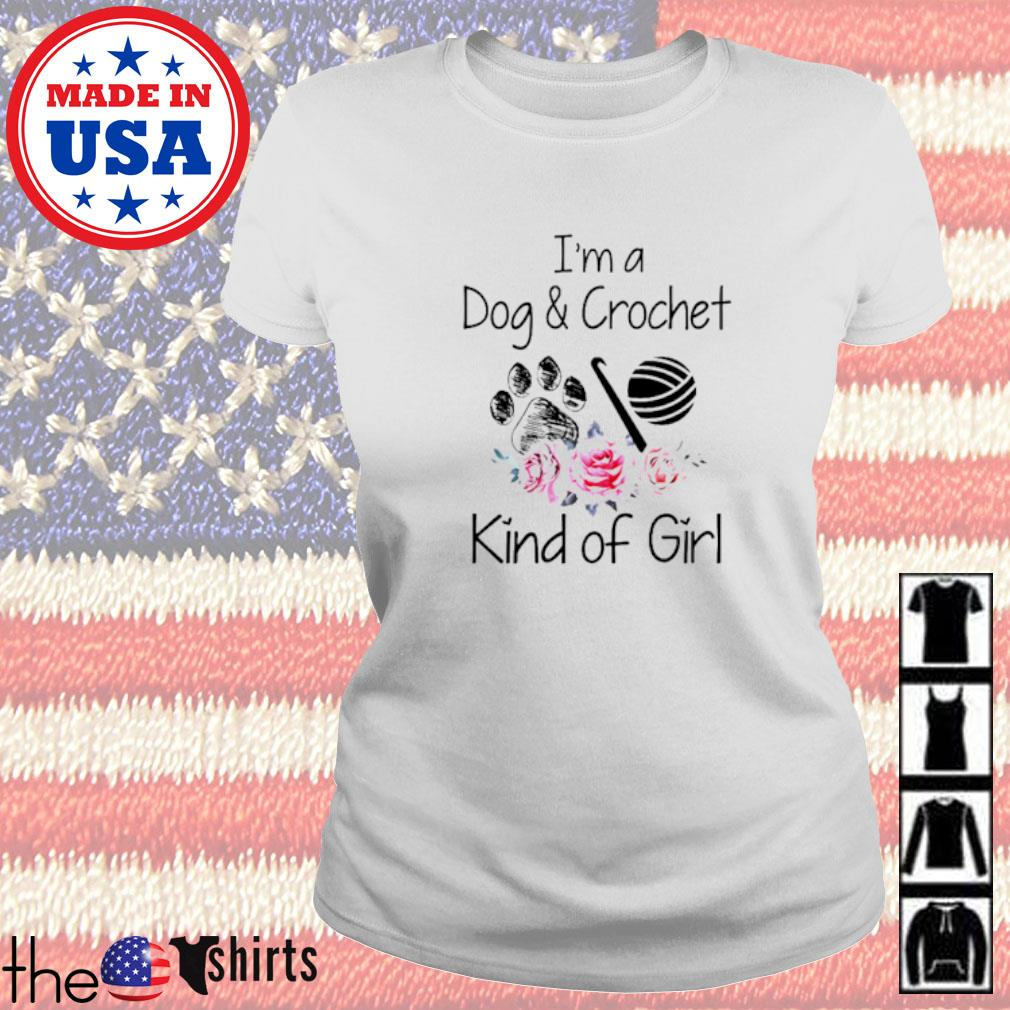 I'm a dog and crochet kind of girl floral Ladies tee