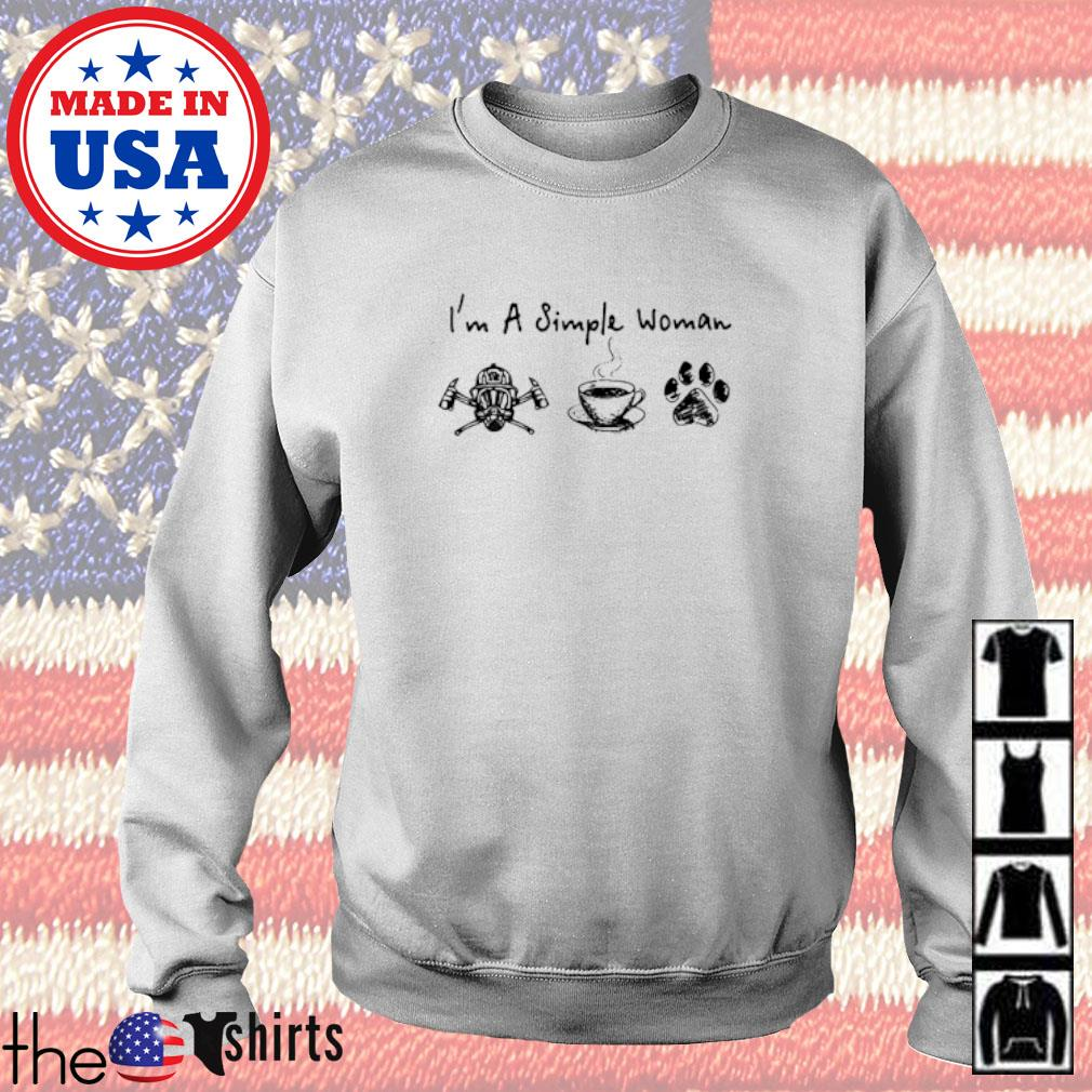 I'm a simple woman I like FireFighter coffee and dog Paw Sweater
