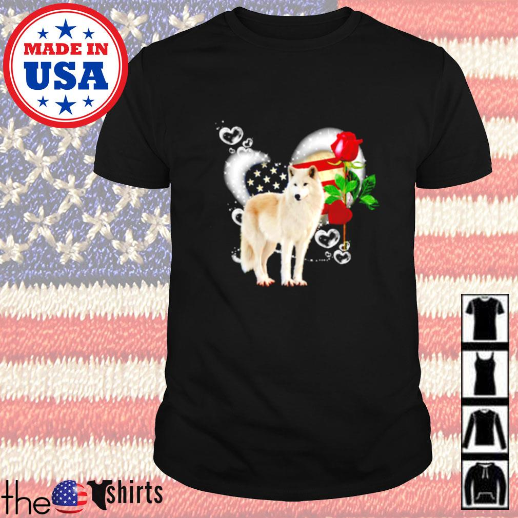 Wolf roses 4th of July American heart shirt