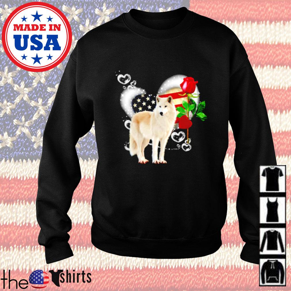 Wolf roses 4th of July American heart Sweater