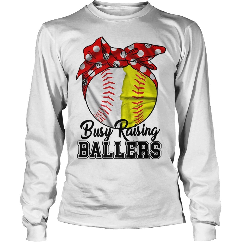 Busy raising ballers softball mom red Bandana Longsleeve Tee