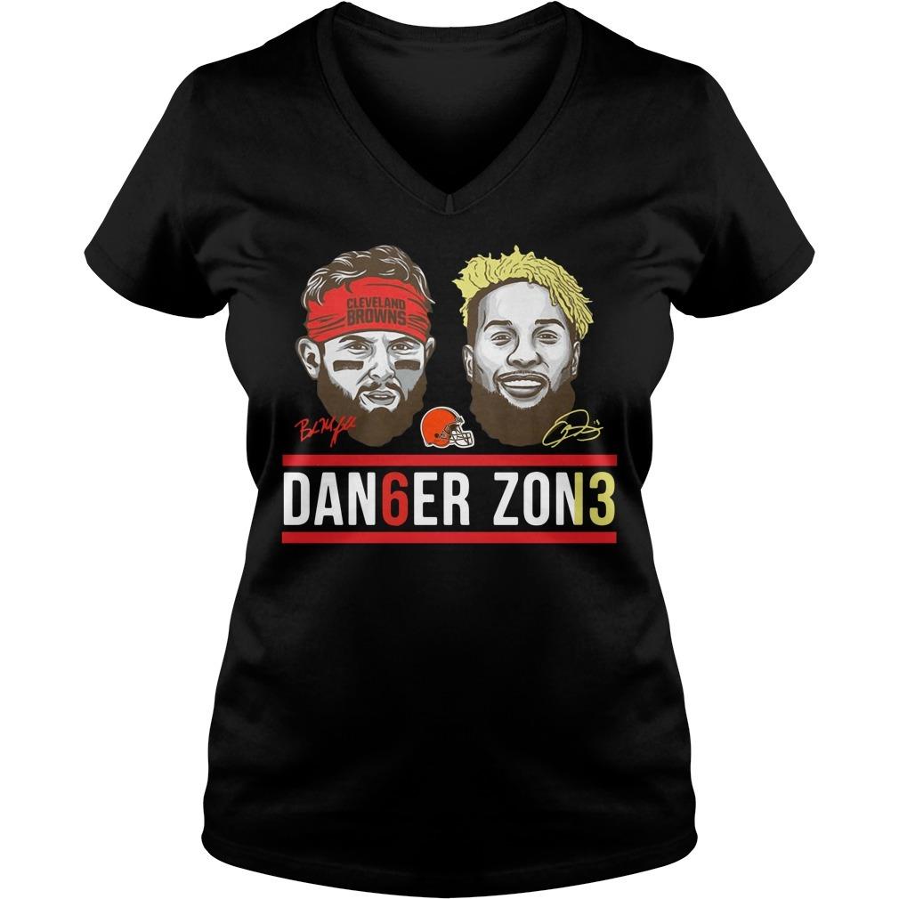 Cleveland Browns Odell Beckham Jr Baker Mayfield danger zone V-neck T-shirt
