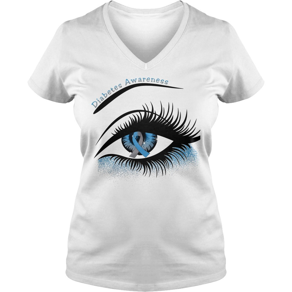 Diabetes awareness and cancer awareness in the eye V-neck T-shirt