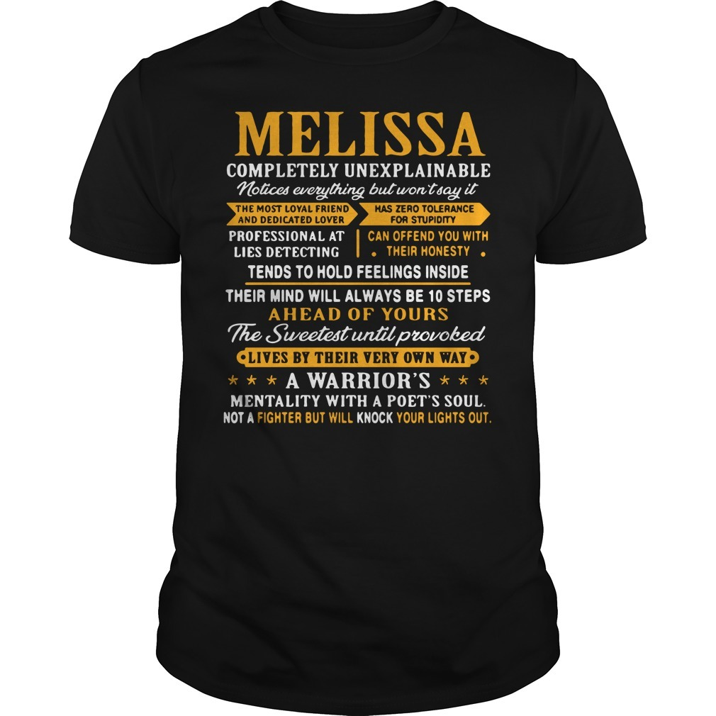 Melissa completely unexplainable notices everything but won't say it Guys shirt