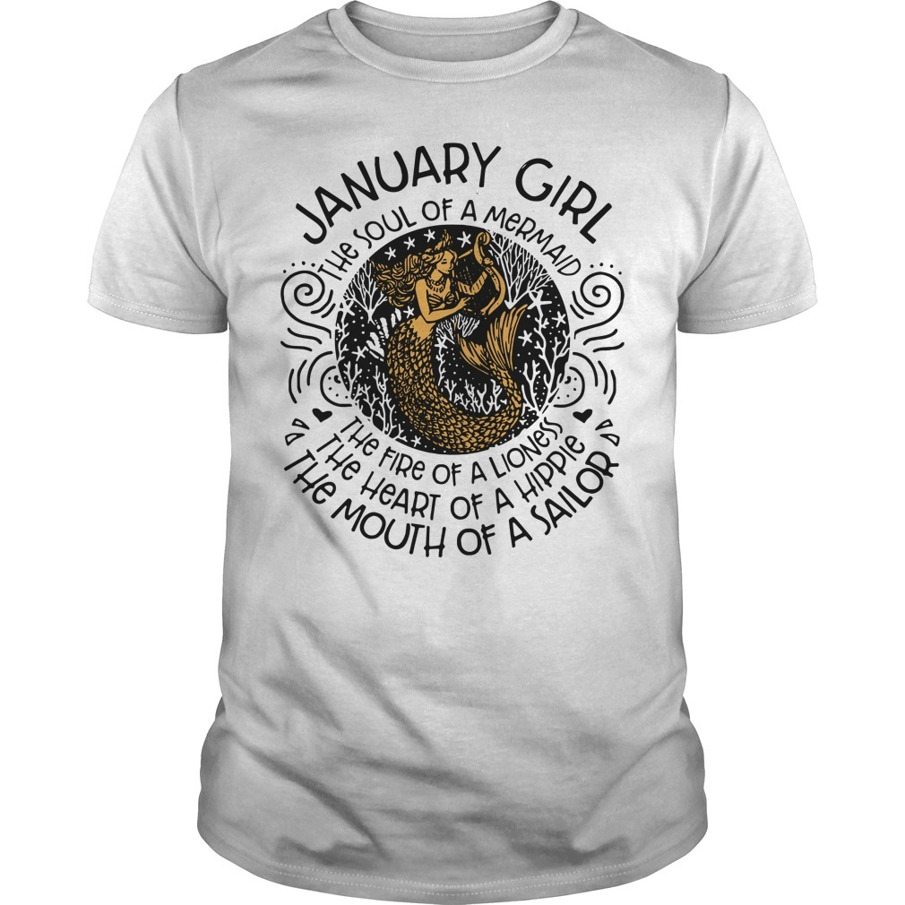 Mermaid with harp January woman the soul of a mermaid the fire of a lioness Guys shirt