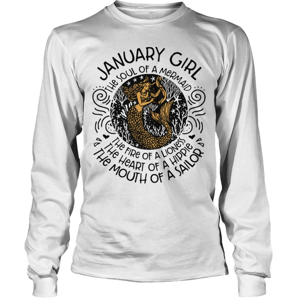 Mermaid with harp January woman the soul of a mermaid the fire of a lioness Longsleeve Tee