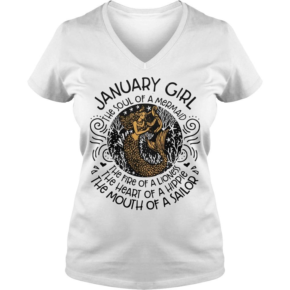 Mermaid with harp January woman the soul of a mermaid the fire of a lioness V-neck T-shirt