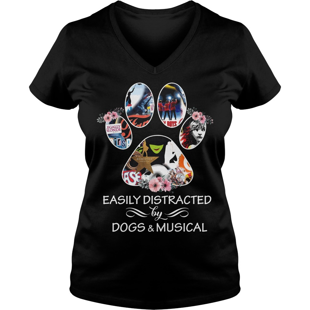 Paw easily distracted by dogs and musical V-neck T-shirt