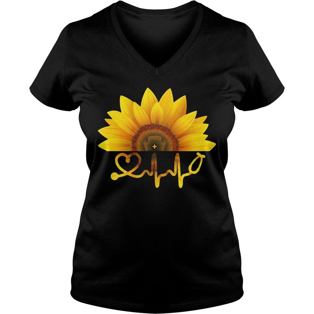 Sunflower nurse V-neck T-shirt