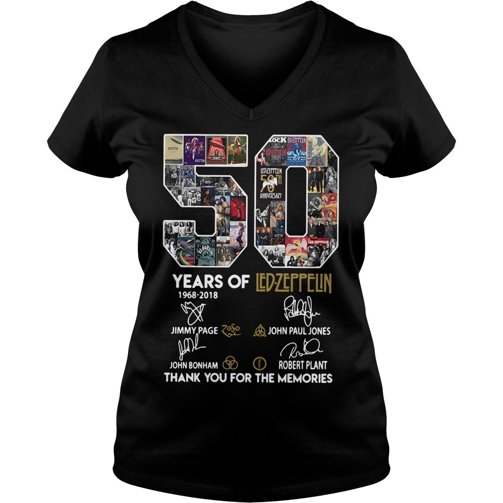 50 Years of Led-Zeppelin 1968-2018 signature V-neck T-shirt
