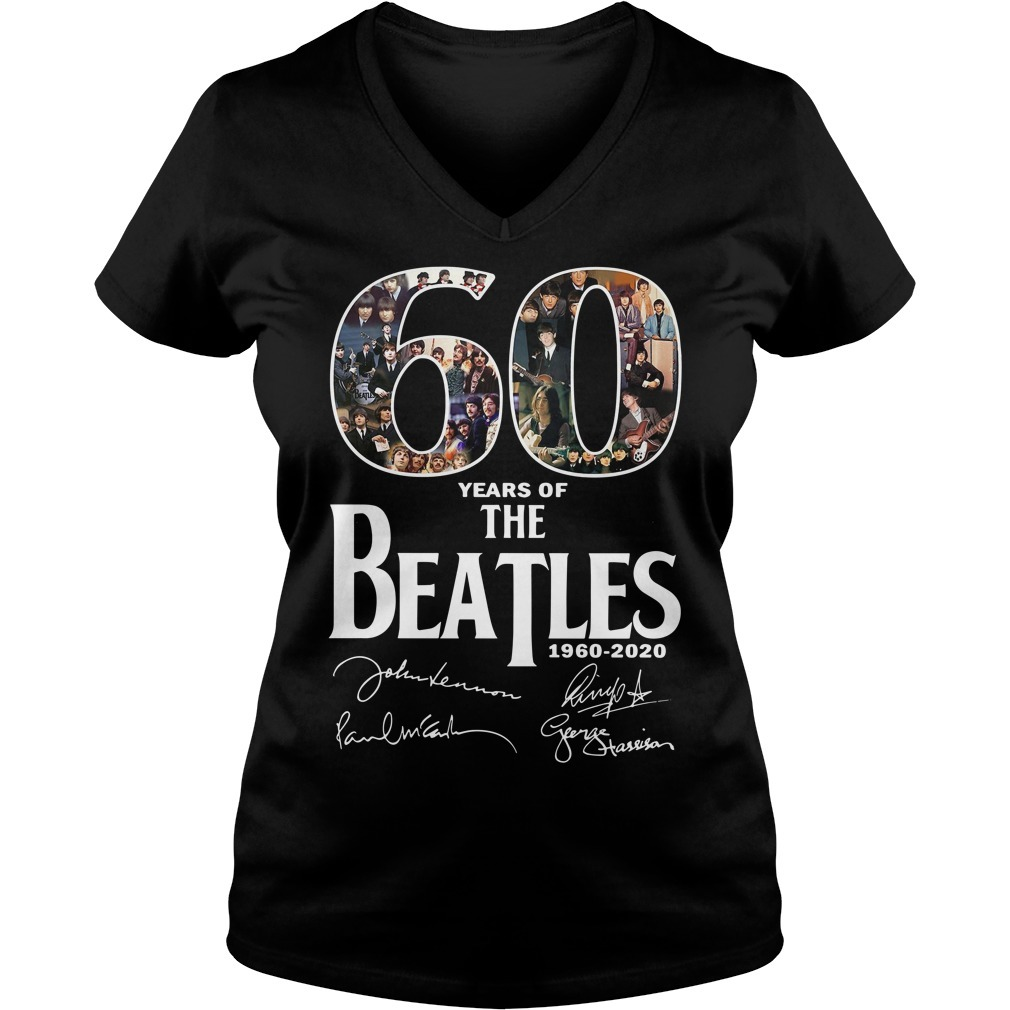 60 Years of the Beatles 1960-2020 signature  V-neck T-shirt