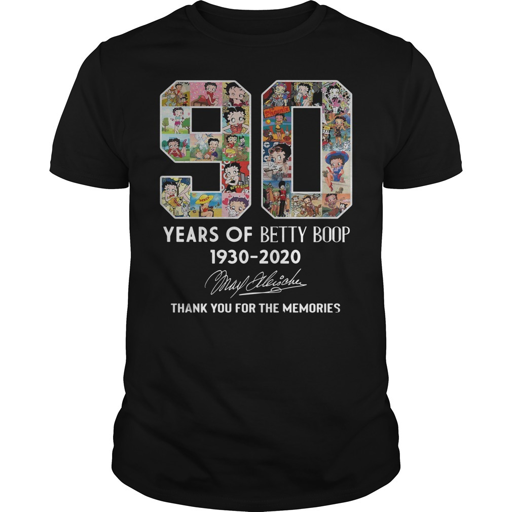 90th Years of Betty Boop 1930-2020 thank you for memories signature shirt