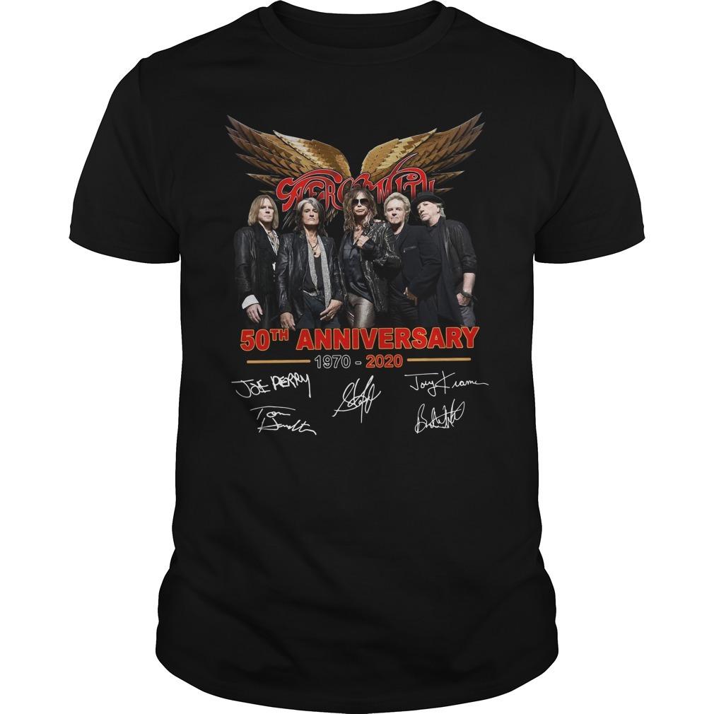 Aerosmith 50th anniversary 1970 2020 signature Guys shirt