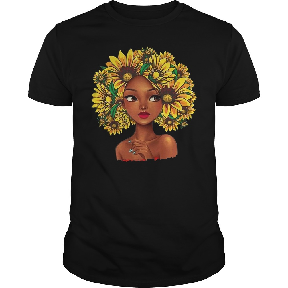 Black girl with sunflowers hair Guys shirt