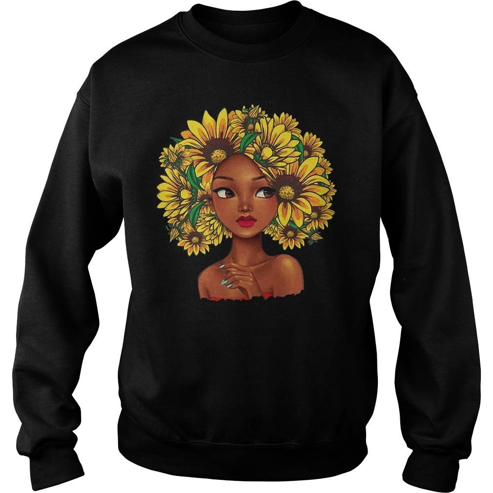 Black girl with sunflowers hair Sweater