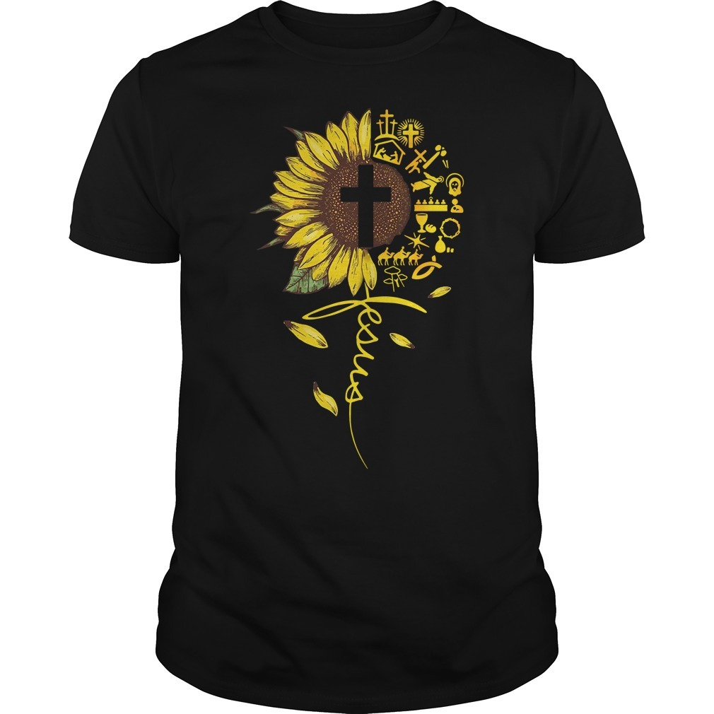 Cross sunflower Jesus Guys shirt