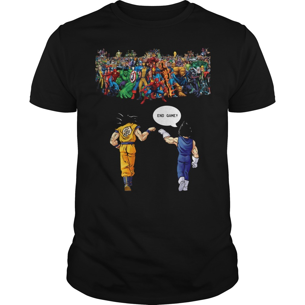 Endgame Goku and Vegeta vs Avenger Marvel Guys shirt