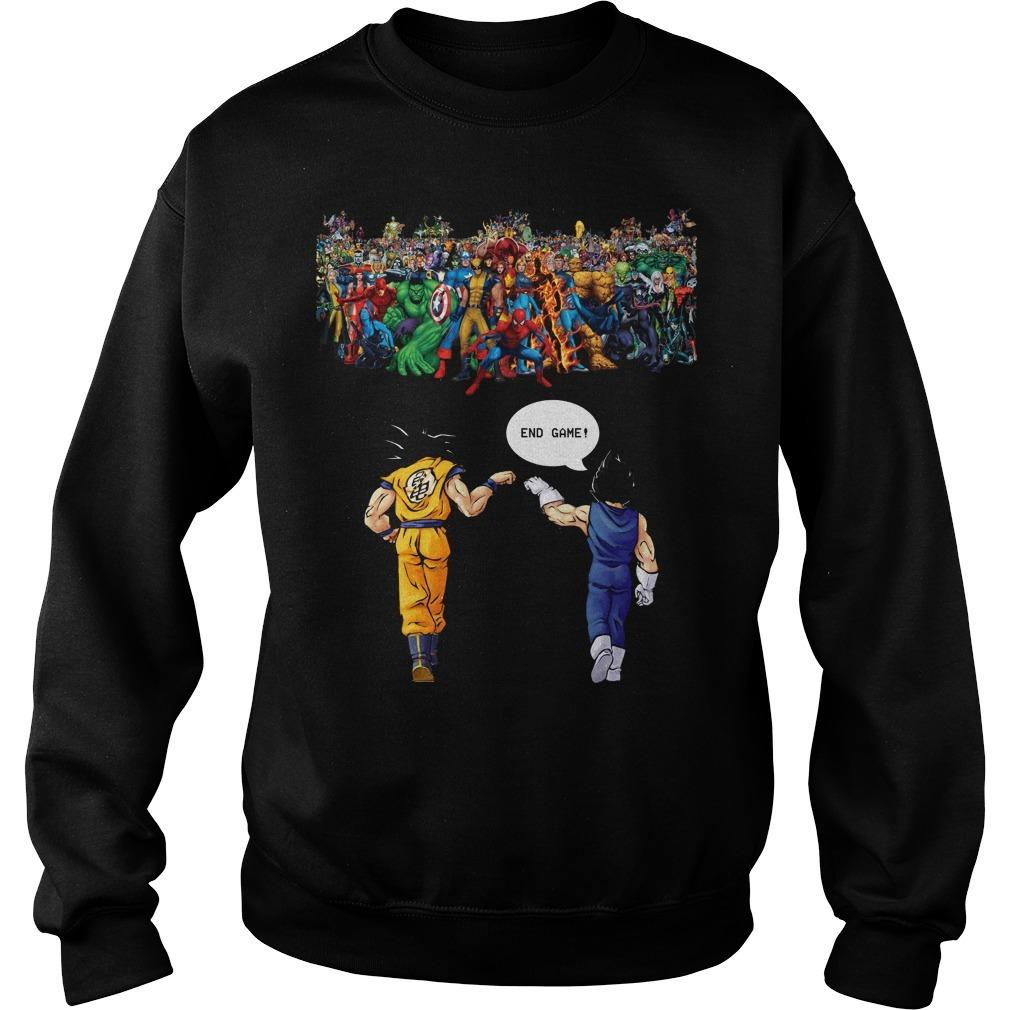 Endgame Goku and Vegeta vs Avenger Marvel Sweater