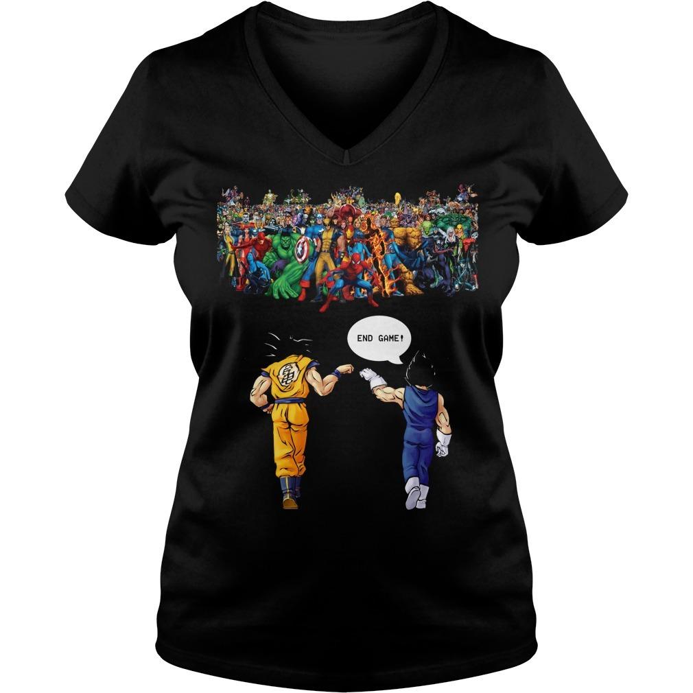 Endgame Goku and Vegeta vs Avenger Marvel V-neck T-shirt