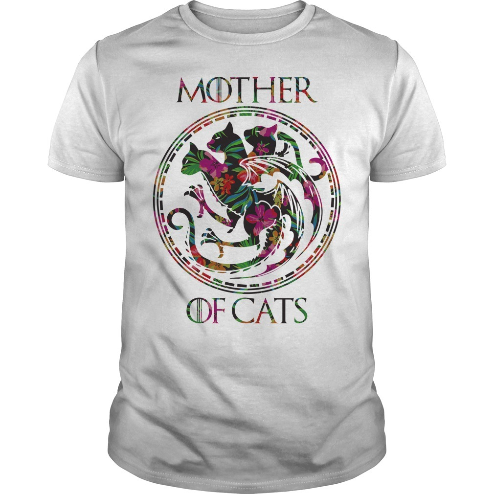 Game of Thrones mother of cats green flower Guys shirt