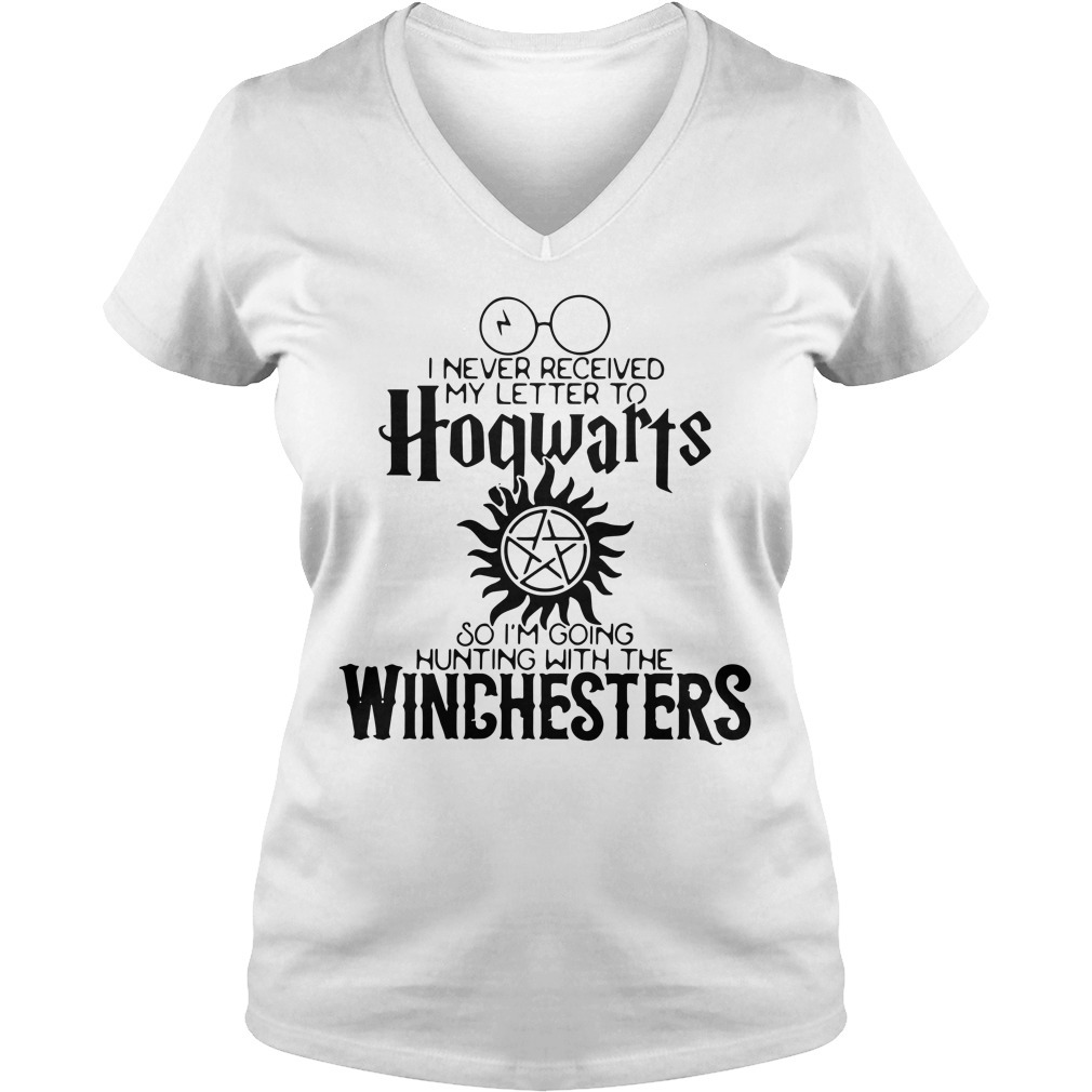 I never received my letter to Hogwarts so I'm going hunting with the Winchesters V-neck T-shirt