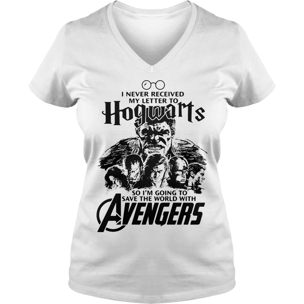 I never received my letter to Hogwarts so I'm going to save the world with Avengers V-neck T-shirt