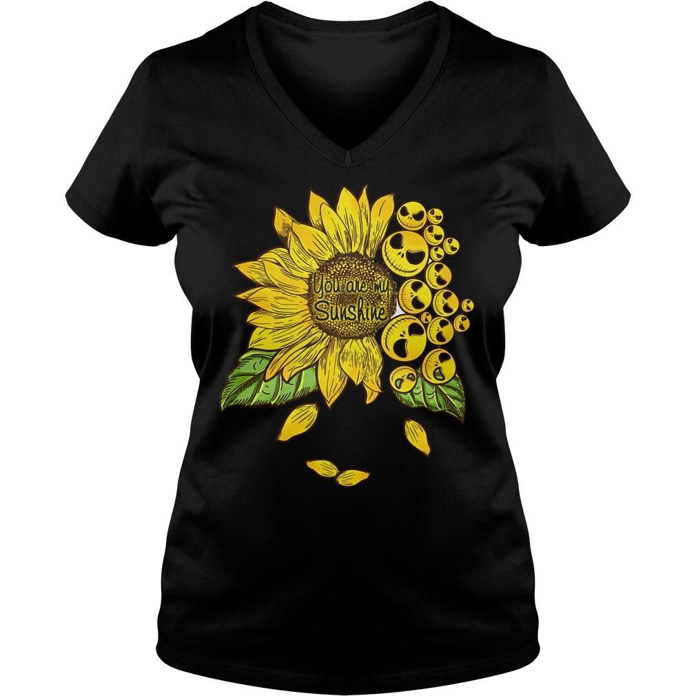 Jack Skellington sunflower you are my sunshine V-neck T-shirt