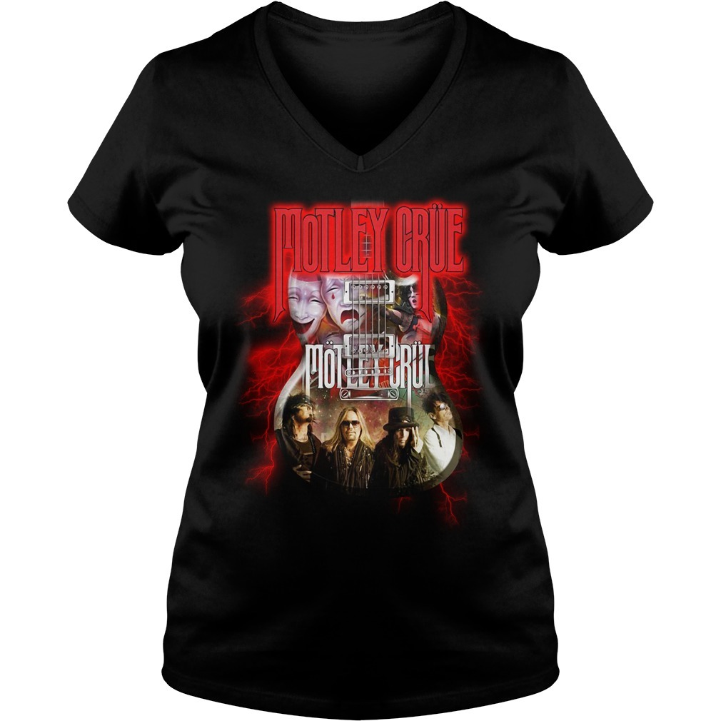 Led Zeppelin Motley Crue guitar V-neck T-shirt
