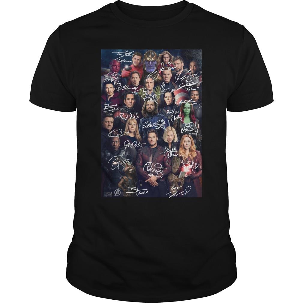 Marvel Avengers endgame poster character signature Guys shirt