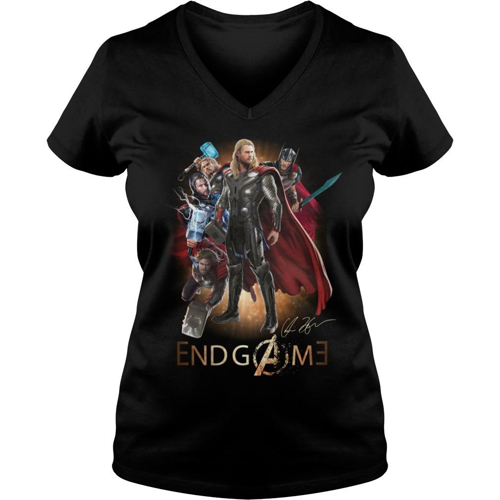 Marvel Avengers endgame Thor Odinson signature V-neck T-shirt
