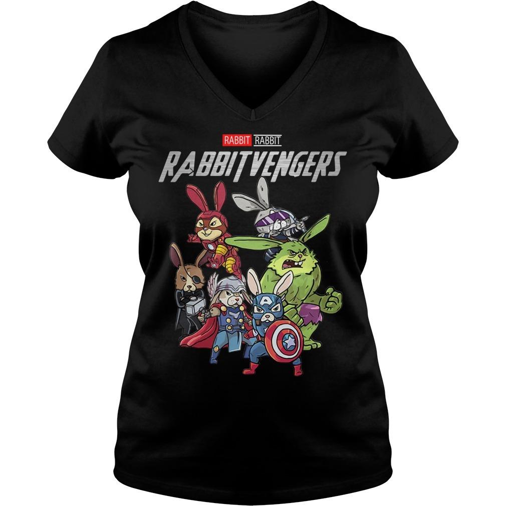 Marvel rabbit Rabbitvengers V-neck T-shirt