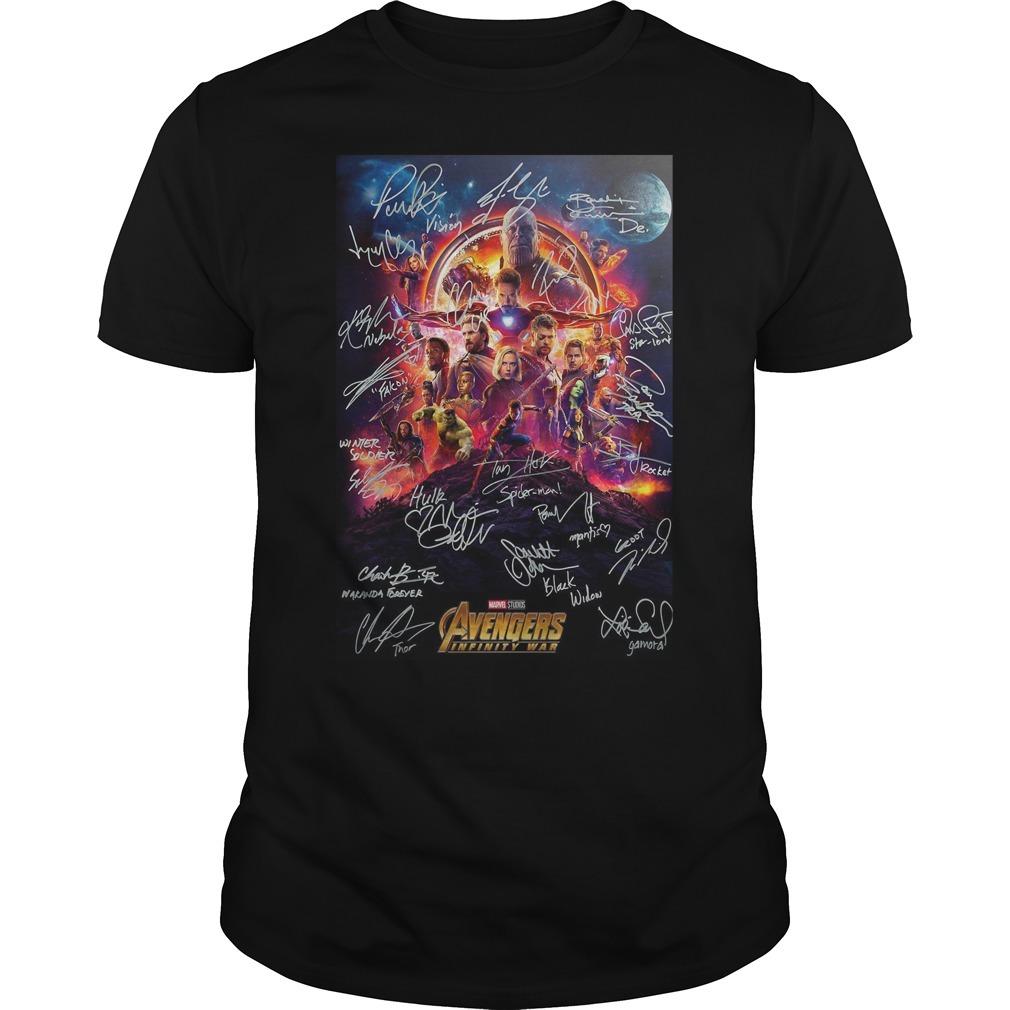 Marvel Studios Avengers infinity war poster character signature Guys shirt