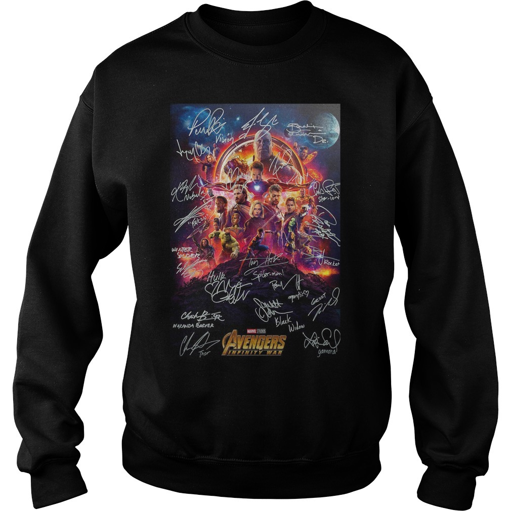 Marvel Studios Avengers infinity war poster character signature shirtracter signature Sweater