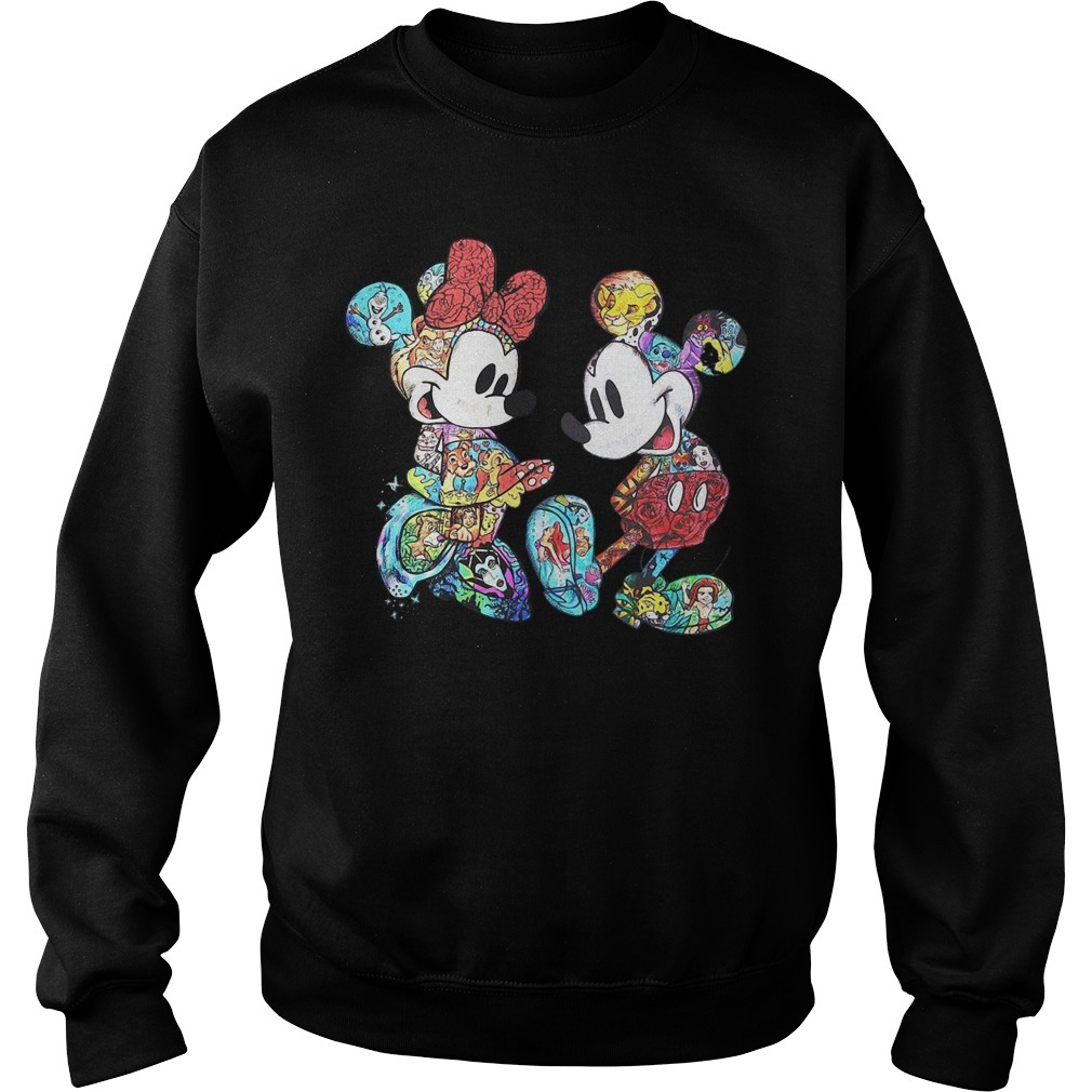 Mickey and Minnie Mouse Disney characters cross pattern Sweater