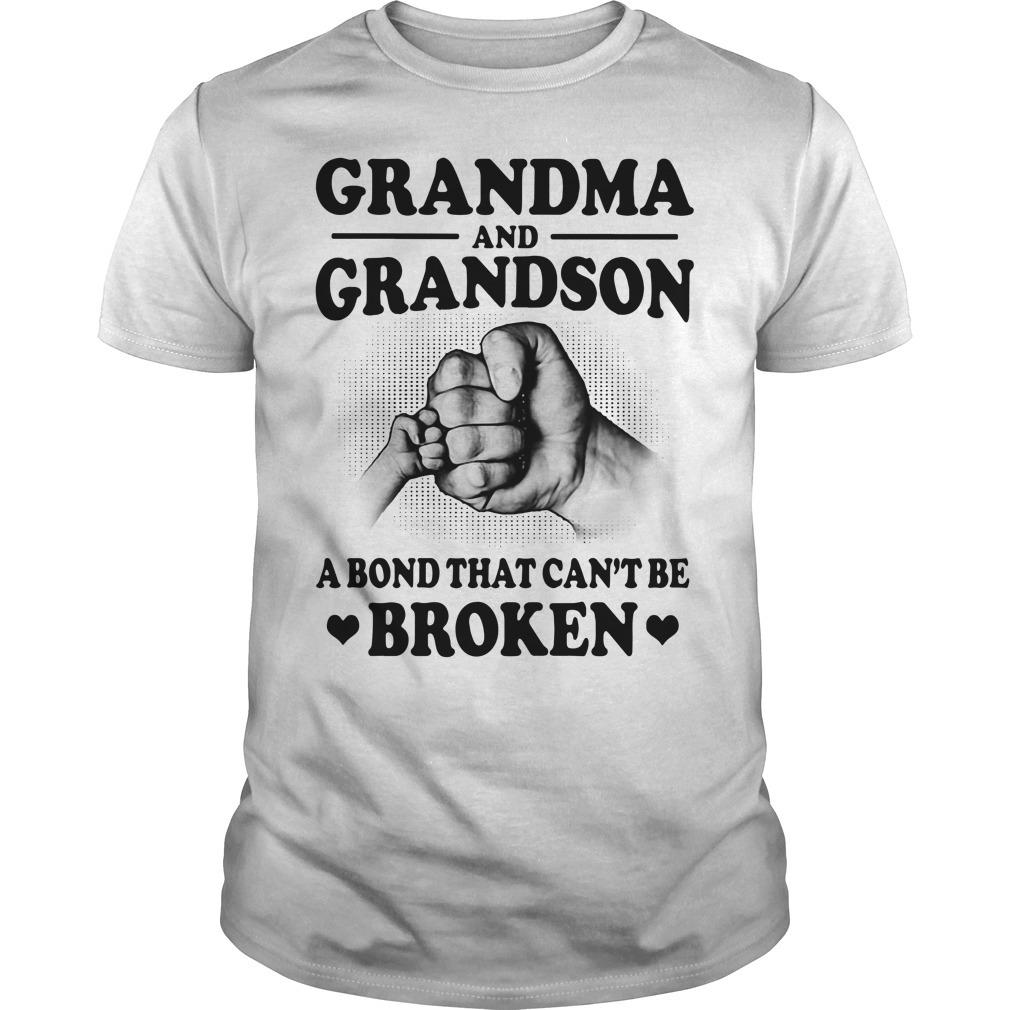 Official grandma and grandson a bond that can't be broken Guys shirt