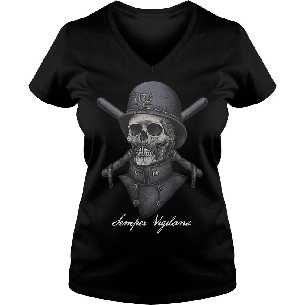 Skull infinity war Semper Vigilans V-neck T-shirt