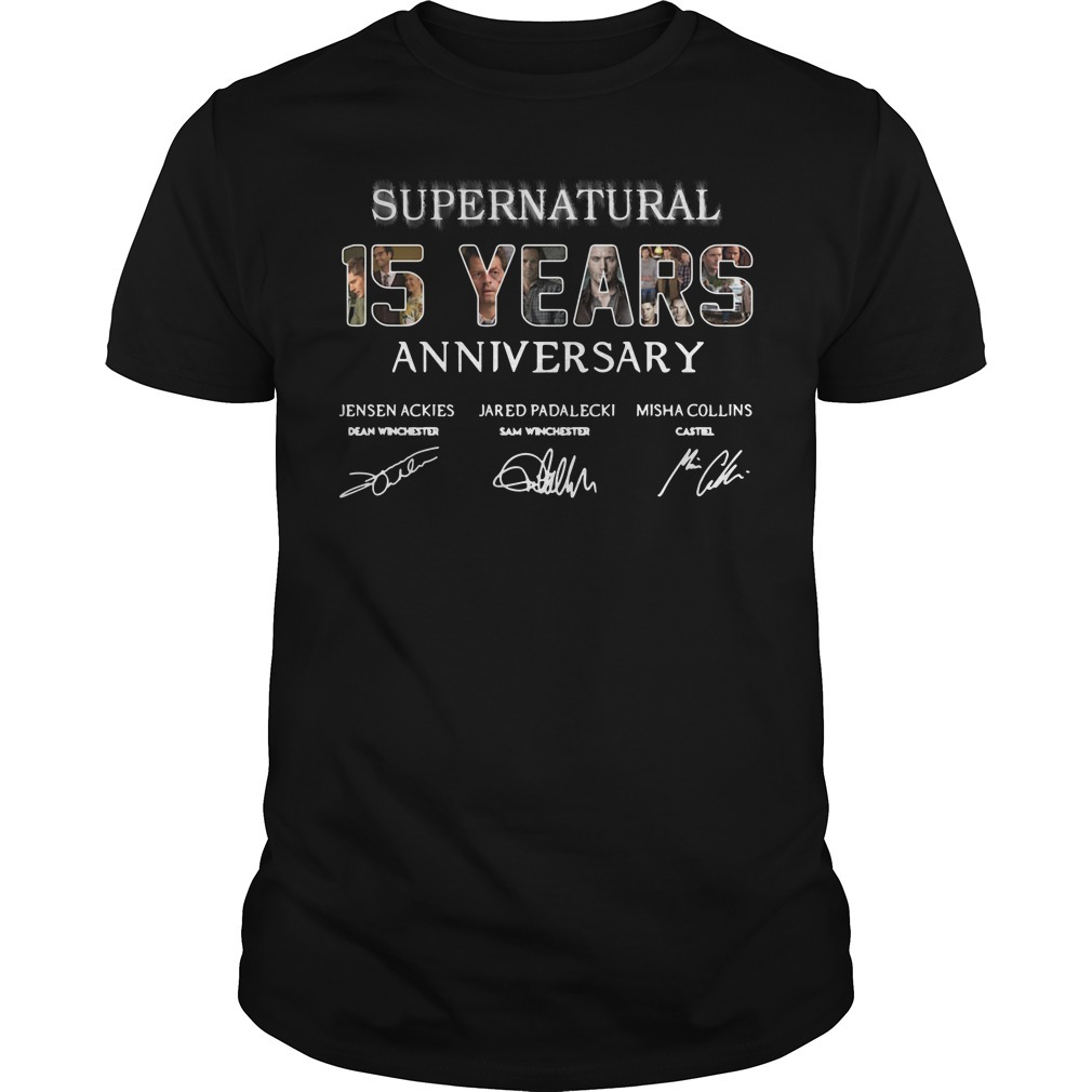 Supernatural 15 years anniversary Jensen Ackles Jared Padalecki Misha Collins signature Guys shirt