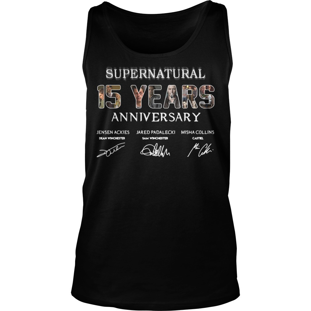 Supernatural 15 years anniversary Jensen Ackles Jared Padalecki Misha Collins signature Tank top